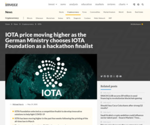 IOTA price moving higher as the German Ministry chooses IOTA Foundation as a hackathon finalist | Invezz
