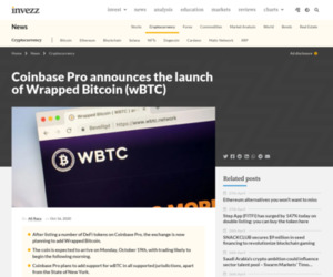 Coinbase Pro announces the launch of Wrapped Bitcoin (wBTC) | Invezz