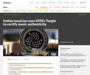 Italian musician uses IOTA's Tangle to certify music authenticity | Invezz