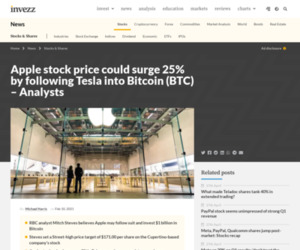 Apple stock price could surge 25% by following Tesla into Bitcoin (BTC) - Analysts | Invezz