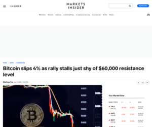 Bitcoin slips 4% as rally stalls just shy of $60,000 resistance level | Currency News |  Financial and Business News | Markets Insider