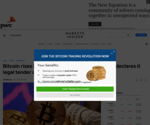Bitcoin rises back above $36,000 as El Salvador declares it legal tender and inflation concerns persist | Currency News |  Financial and Business News | Markets Insider