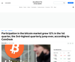 Participation in the bitcoin market grew 12% in the 1st quarter, the 3rd-highest quarterly jump ever, according to CoinDesk   Currency News    Financial and Business News   Markets Insider