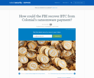 How could the FBI recover BTC from Colonial's ransomware payment? – Naked Security