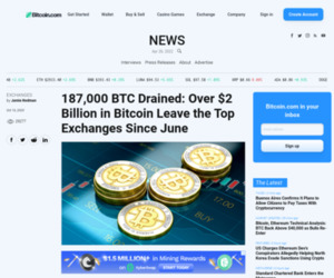 187,000 BTC Drained: Over $2 Billion in Bitcoin Leave the Top Exchanges Since June | Exchanges Bitcoin News