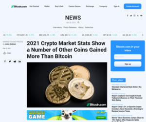 2021 Crypto Market Stats Show a Number of Other Coins Gained More Than Bitcoin – Markets and Prices Bitcoin News