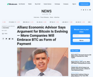 Allianz Economic Advisor Says Argument for Bitcoin Is Evolving — More Companies Will Embrace BTC as Form of Payment – Markets and Prices Bitcoin News