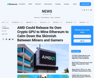 AMD Could Release Its Own Crypto GPU to Mine Ethereum to Calm Down the Skirmish Between Miners and Gamers – Mining Bitcoin News