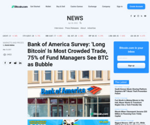 Bank of America Survey: 'Long Bitcoin' Is Most Crowded Trade, 75% of Fund Managers See BTC as Bubble – Markets and Prices Bitcoin News