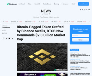 Bitcoin-Pegged Token Crafted by Binance Swells, BTCB Now Commands $2.3 Billion Market Cap – Altcoins Bitcoin News