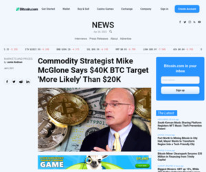 Commodity Strategist Mike McGlone Says $40K BTC Target 'More Likely' Than $20K – Markets and Prices Bitcoin News