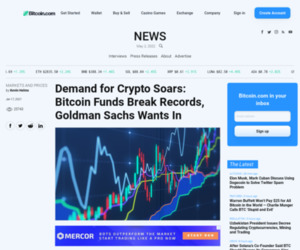 Demand for Crypto Soars: Bitcoin Funds Break Records, Goldman Sachs Wants In – Markets and Prices Bitcoin News