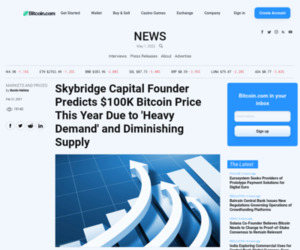Skybridge Capital Founder Predicts $100K Bitcoin Price This Year Due to 'Heavy Demand' and Diminishing Supply – Markets and Prices Bitcoin News