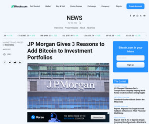 JP Morgan Gives 3 Reasons to Add Bitcoin to Investment Portfolios – Markets and Prices Bitcoin News