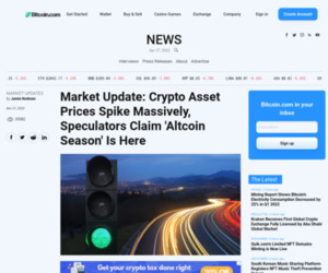 Market Update: Crypto Asset Prices Spike Massively, Speculators Claim 'Altcoin Season' Is Here | Market Updates Bitcoin News
