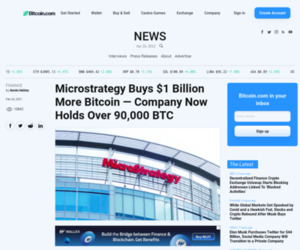 Microstrategy Buys $1 Billion More Bitcoin — Company Now Holds Over 90,000 BTC – Bitcoin News