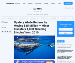 Mystery Whale Returns by Moving $35 Million — Miner Transfers 1,000 'Sleeping Bitcoins' from 2010 – Bitcoin News