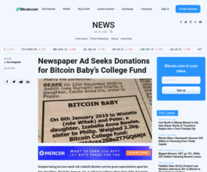 Newspaper Ad Seeks Donations for Bitcoin Baby's College Fund - Bitcoin News