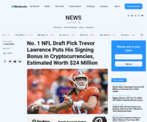 No. 1 NFL Draft Pick Trevor Lawrence Puts His Signing Bonus in Cryptocurrencies, Estimated Worth $24 Million – Featured Bitcoin News