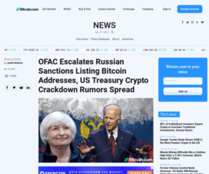 OFAC Escalates Russian Sanctions Listing Bitcoin Addresses, US Treasury Crypto Crackdown Rumors Spread – Regulation Bitcoin News