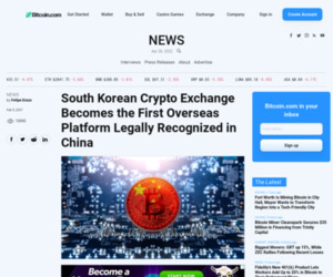South Korean Crypto Exchange Becomes the First Overseas Platform Legally Recognized in China – News Bitcoin News