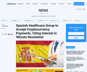 Spanish Healthcare Group to Accept Cryptocurrency Payments, Citing Interest in 'Bitcoin Revolution' – News Bitcoin News