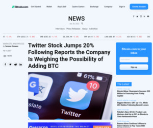Twitter Stock Jumps 20% Following Reports the Company Is Weighing the Possibility of Adding BTC – Markets and Prices Bitcoin News