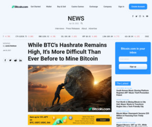 While BTC's Hashrate Remains High, It's More Difficult Than Ever Before to Mine Bitcoin – Mining Bitcoin News