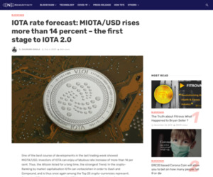 IOTA rate forecast: MIOTA/USD rises more than 14 percent – the first stage to IOTA 2.0 – NewsAffinity