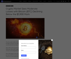 Bitcoin (BTC) Latest Update: Crypto Market Sees Moderate Losses with Bitcoin (BTC) Declining Below the $3,900 Mark – BTC News Today – BTC/USD Price Today