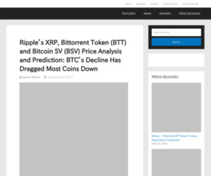 Ripple's XRP, Bittorrent Token (BTT) and Bitcoin SV (BSV) Price Analysis and Prediction: BTC's Decline Has Dragged Most Coins Down – The Merkle News