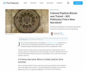 Colonial Pipeline Bitcoin was Traced - Will Politicians Find a New Narrative? - The Tokenist