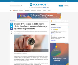 Bitcoin (BTC) seized in 2018 nearly triples in value as Monmouth County liquidates digital assets - TokenPost