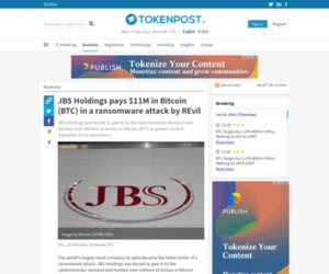JBS Holdings pays $11M in Bitcoin (BTC) in a ransomware attack by REvil - TokenPost