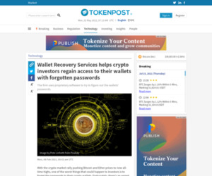 Wallet Recovery Services helps crypto investors regain access to their wallets with forgotten passwords - TokenPost