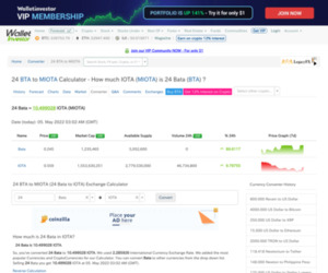 24 BTA to MIOTA - Exchange - How much IOTA (MIOTA) is 24 Bata (BTA) ? Exchange Rates by Walletinvestor.com