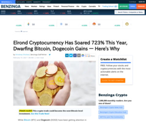 (GBTC) - Elrond Cryptocurrency Has Soared 723% This Year, Dwarfing Bitcoin, Dogecoin Gains — Here's Why | Benzinga