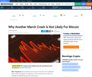 Why Another March Crash Is Not Likely For Bitcoin | Benzinga