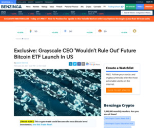 Square (SQ), Tesla Motors (TSLA) - Exclusive: Grayscale CEO 'Wouldn't Rule Out' Future Bitcoin ETF Launch In US | Benzinga