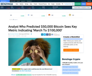 Analyst Who Predicted $50,000 Bitcoin Sees Key Metric Indicating 'March To $100,000' | Benzinga