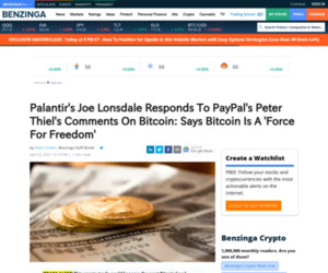 Palantir's Joe Lonsdale Responds To PayPal's Peter Thiel's Comments On Bitcoin: Says Bitcoin Is A 'Force For Freedom' | Benzinga
