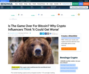 Is The Game Over For Bitcoin? Why Crypto Influencers Think 'It Could Get Worse'   Benzinga