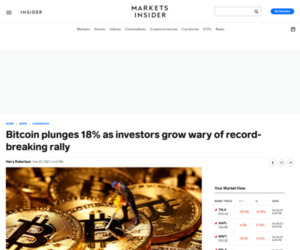 Bitcoin plunges 18% as investors grow wary of record-breaking rally | Currency News |  Financial and Business News | Markets Insider