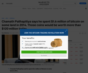 Chamath Palihapitiya says he spent $1.6 million of bitcoin on some land in 2014. Those coins would be worth more than $120 million today. | Currency News |  Financial and Business News | Markets Insider