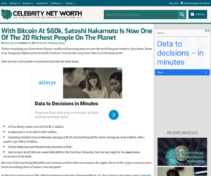 With Bitcoin At $60k, Satoshi Nakamoto Is Now One Of The 20 Richest People On The Planet   Celebrity Net Worth