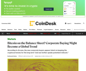 Bitcoin on the Balance Sheet? Corporate Buying Might Become a Global Trend - CoinDesk
