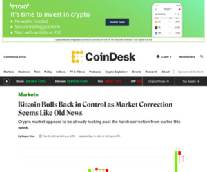 Bitcoin Bulls Back in Control as Market Correction Seems Like Old News - CoinDesk