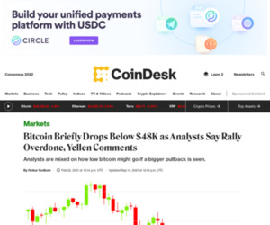Bitcoin Briefly Drops Below $48K as Analysts Say Rally Overdone, Yellen Comments - CoinDesk