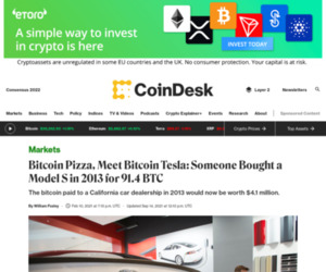 Bitcoin Pizza, Meet Bitcoin Tesla: Someone Bought a Model S in 2013 for 91.4 BTC - CoinDesk