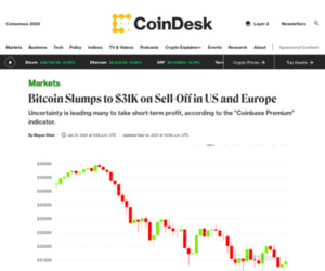 Bitcoin Slumps to $31K on Sell-Off in US and Europe - CoinDesk